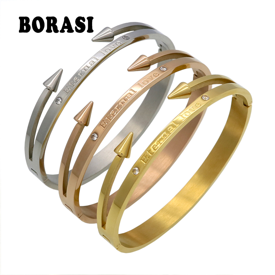 "New Arrival Brand Conical Arrows Cubic Zirconia Stone Bracelets & Bangles Gold Color ""Eternal love"" Nail Cuff Bracelet For Women"