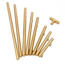 Золотые ручки шкафа Мебель ящика Тянет матовая латунь отверстие пространство 2 «~ 10» Кухня Шкаф Кабинет Комплектующие дверей ручки 1 упаковка