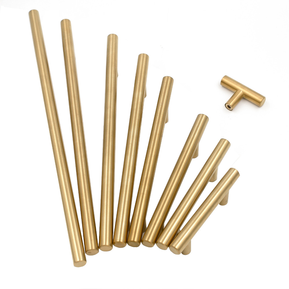 Gold Cabinet Handles Furniture Drawer Pulls Brushed Brass Hole Space 2