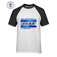 2017 Hot Sale Mix Color Fashion Casual Chicago Flag Funny T Shirt For Men Short Sleeve
