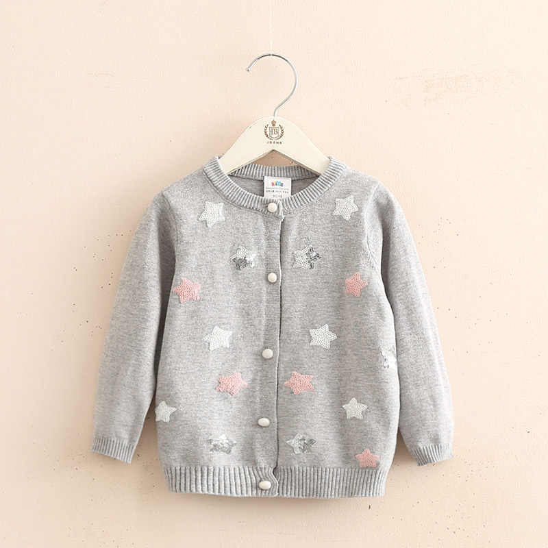 Baby Stars Knit Cardigan 2019 Spring Autumn Clothing New Girls' Children's Wear Coat Sweater Girl Cardigan V-Neck  Casual  Kids