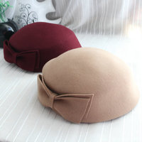 Vintage Australian Wool Bow Fedora For Women Dome British Plain Autumn Ladies Beret Cap Vogue Fashion