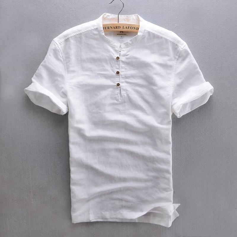 Buy men 39 s short sleeve summer linen shirt for Mens summer linen shirts