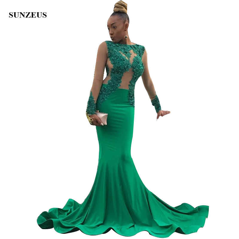 11d314f90472 Emerald Green Mermaid Prom Dress With Long Sleeves Sexy Appliques Lace  Beaded Bodice African Black Girls