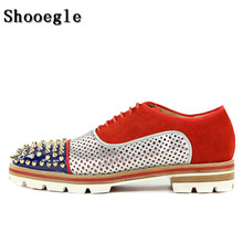 SHOOEGLE Men Red Lace-up Patchwork Casual Shoes Spikes Studded Lowtop Mixed Color Loafers Anti-skid Party