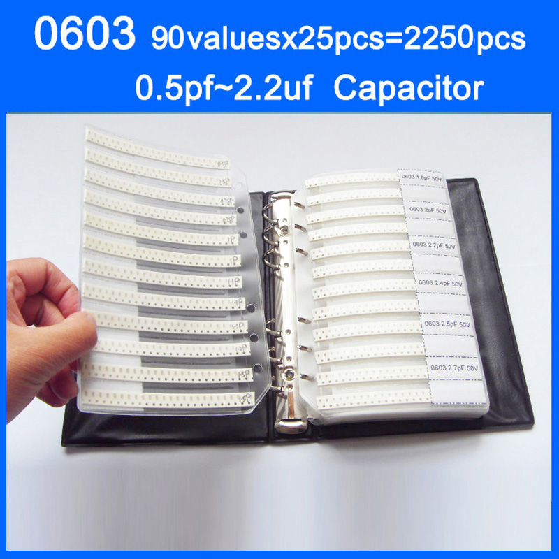 0603 SMD Capacitor Sample Book 90valuesX25pcs=2250pcs 0.5PF~2.2UF Capacitor Assortment Kit Pack