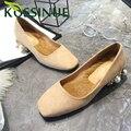 Zapatos de las mujeres del otoño acuden zapatos de tacón bajo de piel de Conejo de Punto Del Dedo Del Pie Cuadrado interior decoración De perlas de Imitación zapatos atractivos de las señoras