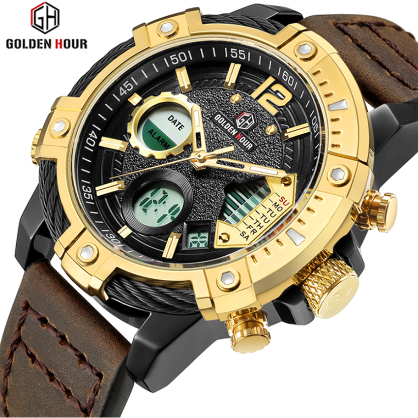 Men Watches Full Steel Men's Quartz Hour Clock Function Analog LED Digital Watch Sports Military Wrist Watch Relogio Masculino 2018 amuda gold digital watch relogio masculino waterproof led watches for men chrono full steel sports alarm quartz clock saat