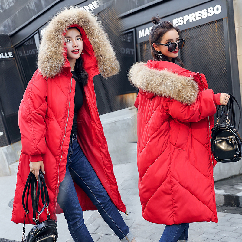 2017 New Women Winter Jacket Plus Size Outerwear Coats Thick Fur Hooded Medium Length Cotton-padded Jacket Female Warm Parkas new women winter cotton jackets long coats hooded fur collar parkas thick warm jacket plus size female slim outerwear okxgnz1072