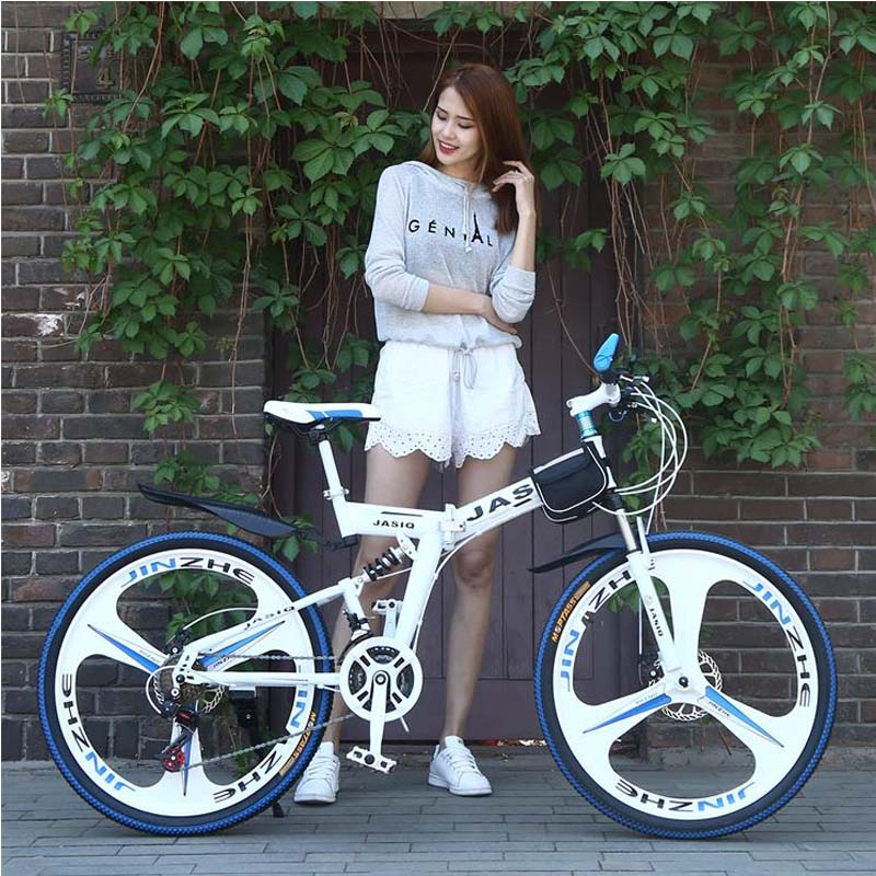 26 inch mountain bike 21 speed Folding mountain bicycle double disc brake bike New folding mountain bike Suitable for adults