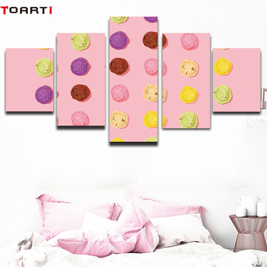 Ice cream pink poster and print 5 pieces wall painting modern picture modular home decor artwork mural chart living room decor in Painting Calligraphy from Home Garden