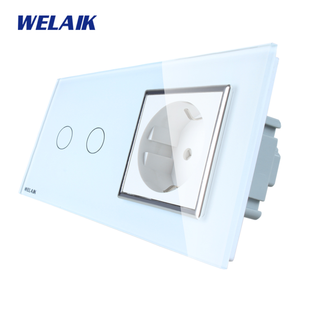 WELAIK Brand 2Frame Crystal Glass Panel Wall Switch EU Touch Switch Screen EU Wall Socket 2gang1way AC110~250V A29218ECW/B smart home uk standard crystal glass panel wireless remote control 1 gang 1 way wall touch switch screen light switch ac 220v