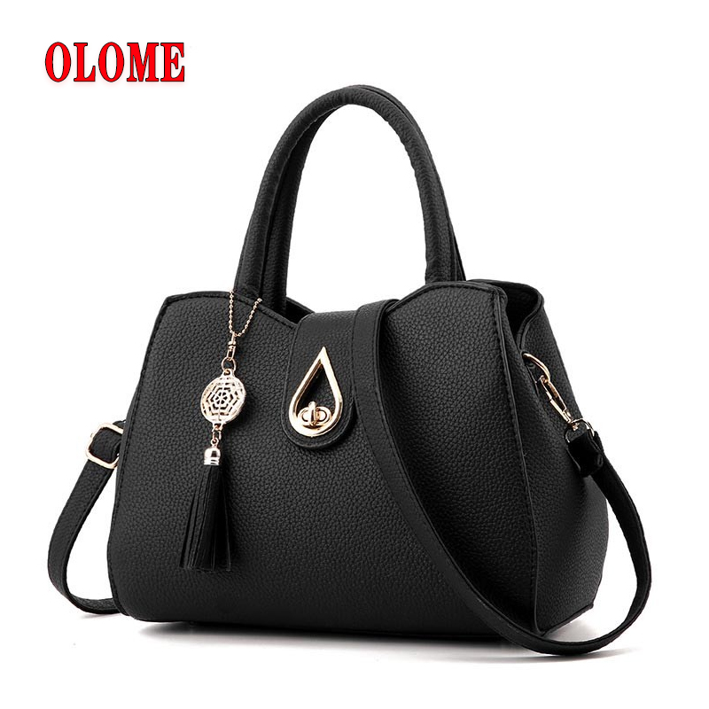 Famous Brand Women Bag Top Handle Bags 2019 Fashion Women Messenger Bags Handbag Set PU Leather totes Bag in Top Handle Bags from Luggage Bags