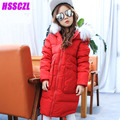 2016 new winter girls down jacket thicker children's down jackets girl long children's clothing outerwear overcoat hooded collar