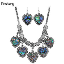 Heart Pendant Shell Bead Jewelry Set For Women Antique Silver Plated Necklace Earrings Party Wedding Gift TS371