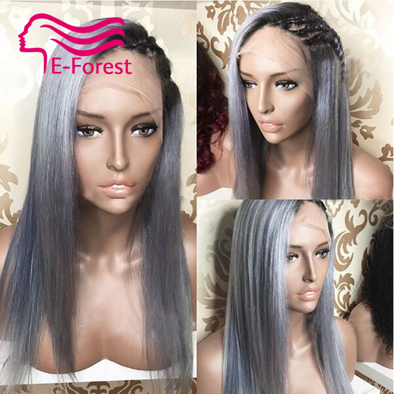 1bTgrey full lace front lace human hair wigs glueless straight Brazilian with Natural baby hair free