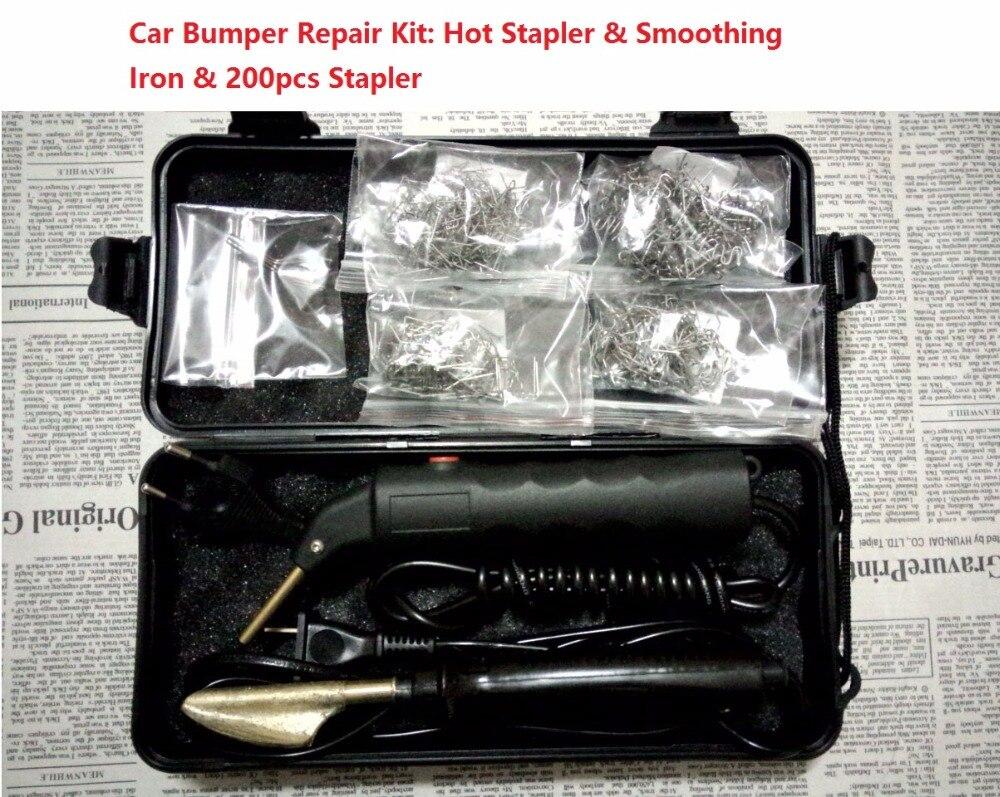 Parachoques del coche Kit de reparación grapadora caliente reparación Kit de plástico máquina de soldadura y alisado de hierro y 200 piezas grapadora