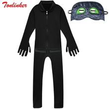 Halloween Black Cat Cosplay Coverall With Eye Mask Animation Costume For Kids Party Costumes