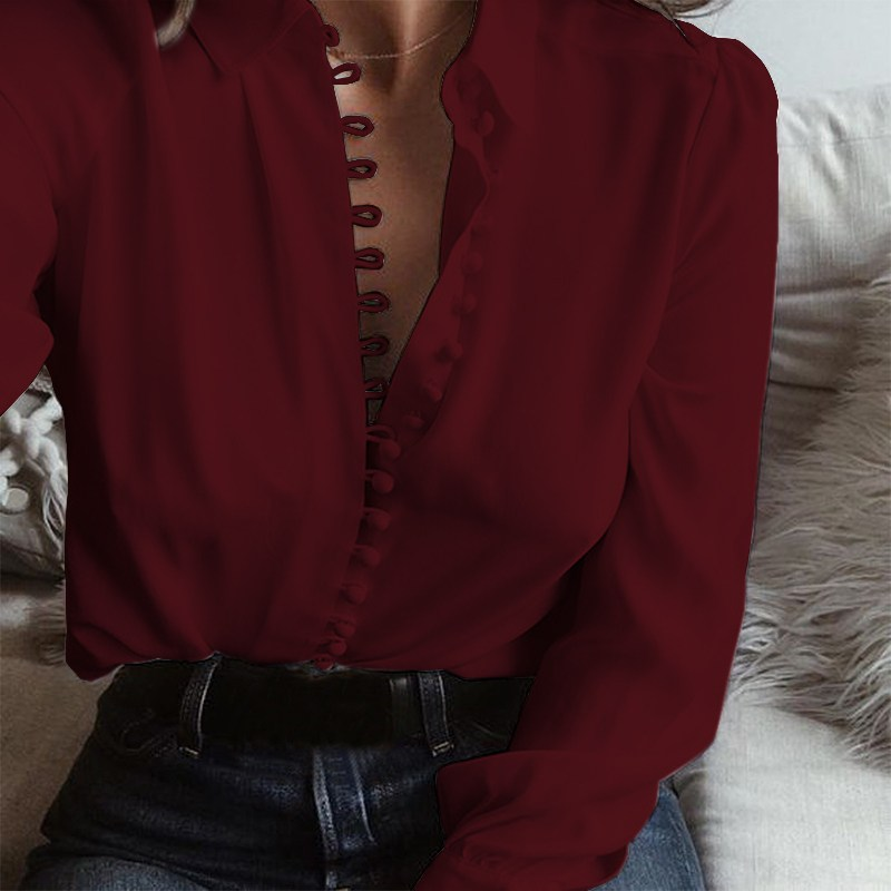 2018 Spring Plus Size ZANZEA Women Leisure Solid Lapel Buttons Long Sleeve Blouse S 5XL Casual Baggy Party Shirts Basic Blusas