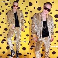 Nightclub Male Singer DJ dancer costumes Champagne Gold Diamond Velvet flash hip hop baseball uniforms stage show stage wear