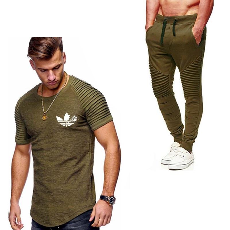 2019 Flut Marke Sets Sommer Männer T Shirts + Hosen Sets Sommer Heißer Verkauf Baumwolle Plissee Kurzarm T-shirt Männer Casual Set Hose Ruf Zuerst