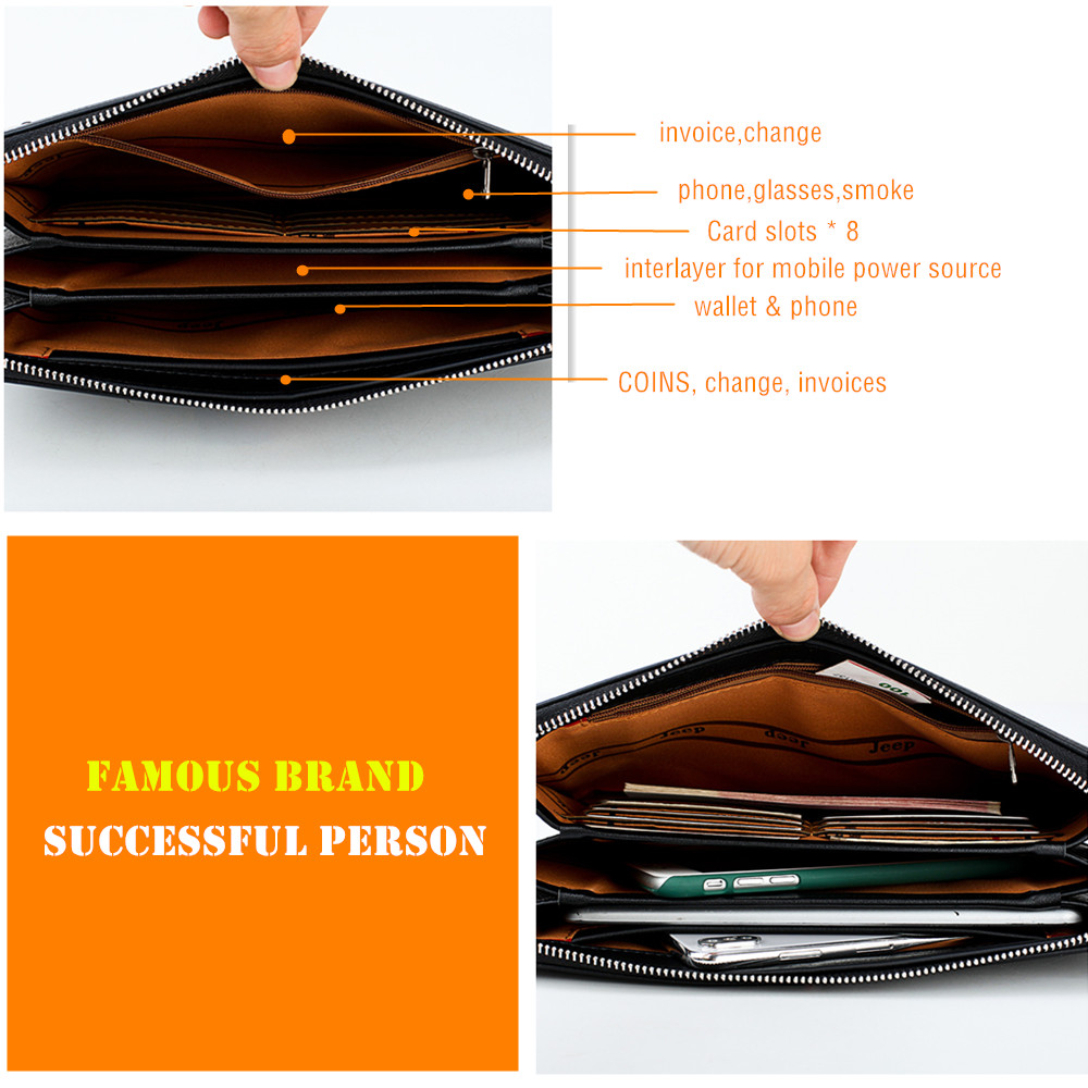 Image 3 - JEEP BULUO Luxury Brand Men's Handbag Day Clutches Bags For Phone High Quality Spilt Leather Wallet Hand bag Large Capacity Male