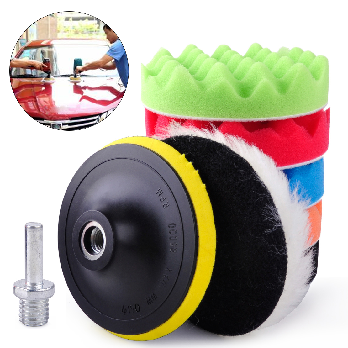 beler 7pcs 6 150mm Car Polishing Waxing Buffing Wool Sponge Pads Kit for Vehicle Polisher Buffer Max 8500RPM Wholesale Price