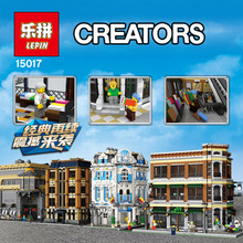 Lepin 15017 4616Pcs With Original Box City Street Creator Starbucks Bookstore Cafe Model Building Blocks Compatible with Legoe