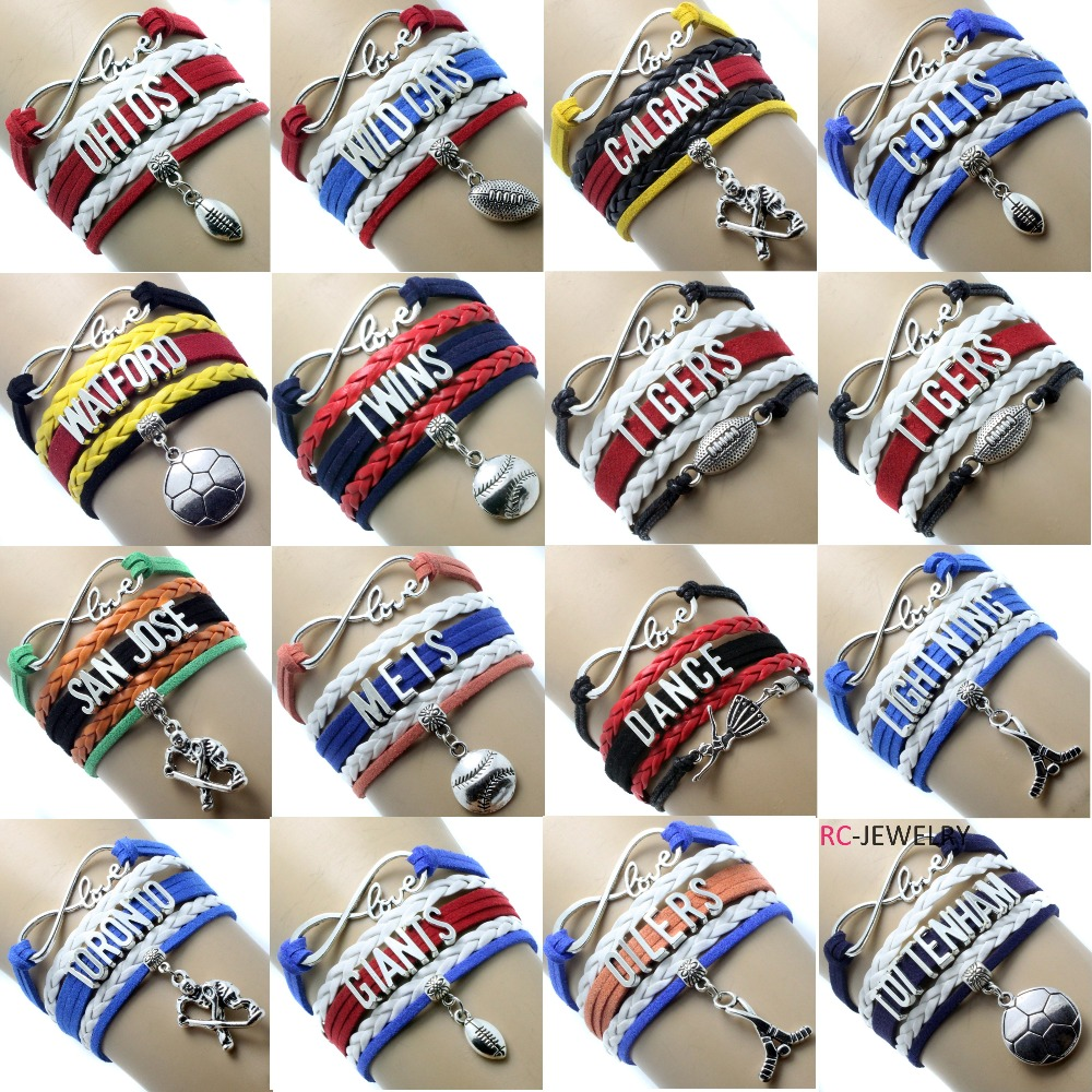 10pcs Lot Infinity Love Ny Giants Football Team Bracelet Customized Colors Wristband Friendship Bracelets Best Gift For Friend In Chain Link