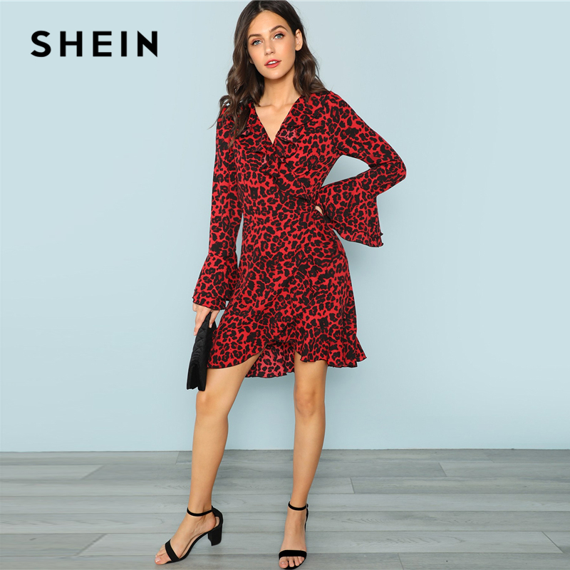e97a23bbe3d SHEIN Red Leopard Print Ruffle Trim Surplice Wrap Dress Beach Vacation  Flounce Sleeve A Line Dresses Women Autumn Elegant Dress on Aliexpress.com