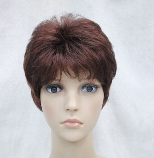 Wholesale price Hot Sell TSC^^^ Burgundy Mixed Short Women ladies Daily Hair Wig Unisex Men Male wigs ETLD028