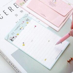 Image 3 - 30Packs/Lot Leuke Konijn Pinguïn Bloem 2 Envelop + 4 Papieren Brief Mini Brief Pad Schrijven Papier Kantoor & School Leveranties