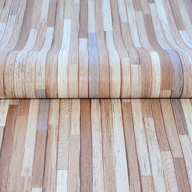 Fine Wood Grain Pattern Chinese Style Industrial Cafe Wallpaper