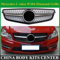 suitable for mercedes c class w204 c180 c200 c300 c250 c350 2008 merc 2008 2014 C63 Diamond grille with center logo