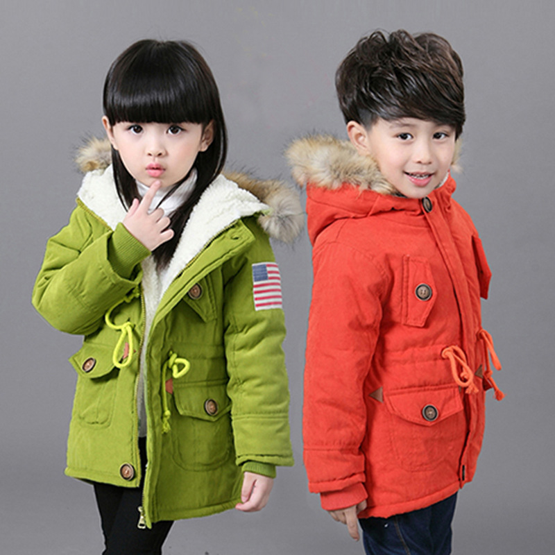 Fleece Thick Warm Parkas Winter Jacket Coat For Boys & Girls Children Fashion Hooded Long Padded Jacket Outerwear 100 150