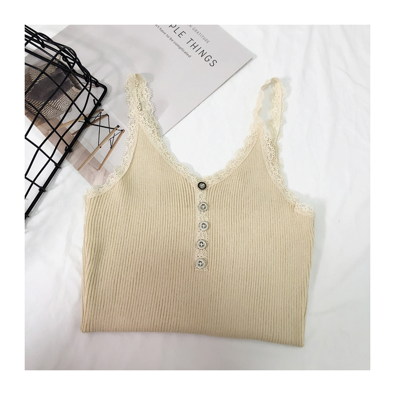 Camis Top summer lace stitching bottom strap camisole female retro chic sexy Crop Top metal button sleeveless Tank Top Women (10)