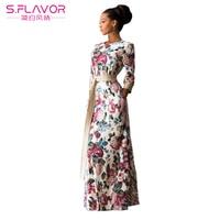 S FLAVOR Brand Women Summer Dress 2017 Fashion Print Maxi Dress Vestido Longo Casual Elegant High