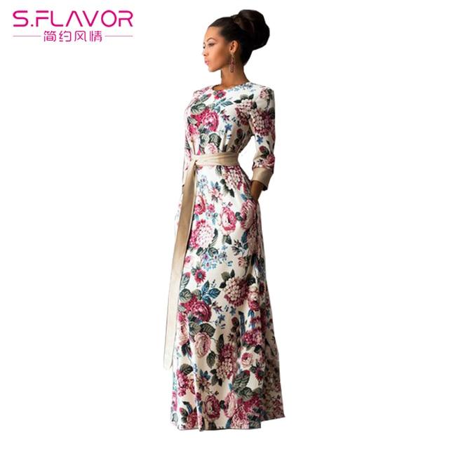 f03e869c397 S.FLAVOR Brand Women Summer Dress 2017 Fashion Print Maxi Dress Vestido  Longo Casual Elegant
