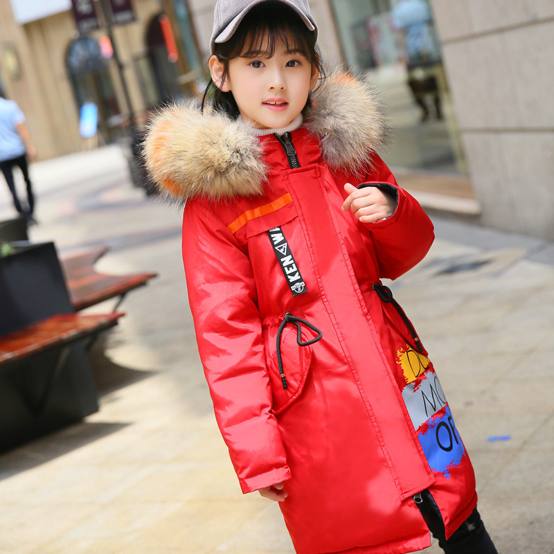 Girls Winter Down Coat 2018 Hooded Fur Collar Parkas Fashion Clothes Kids Warm Down Jackets For Girls Thick Snowsuit Outerwear fashion girls winter down coat teenagers long down thick warm coat parkas fur collar hooded jackets clothing children snowsuit