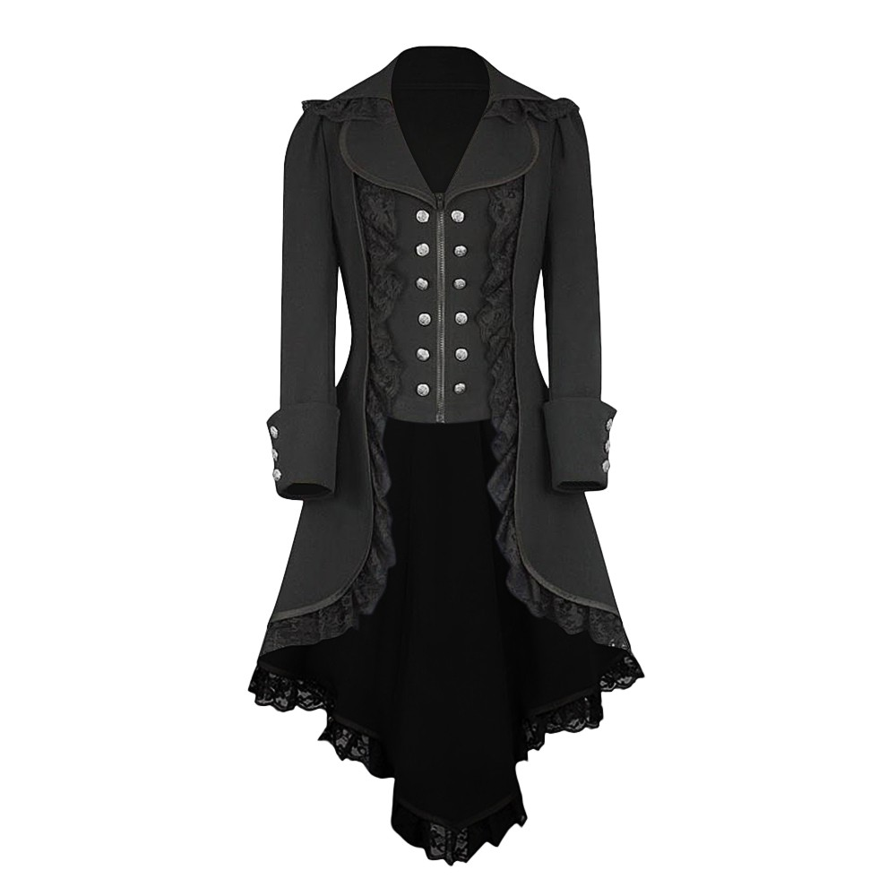 Vintage Elegant Fashion Long Coat Retro Lace Trim Coat Trench Women Coats Autumn Winter