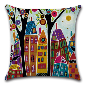 Image 4 - Cartoon Abstract Art Hand painted Print Pillow Cover Decorative Yellow Geometry Home Farmhouse Decor for Kids Children Room Sofa