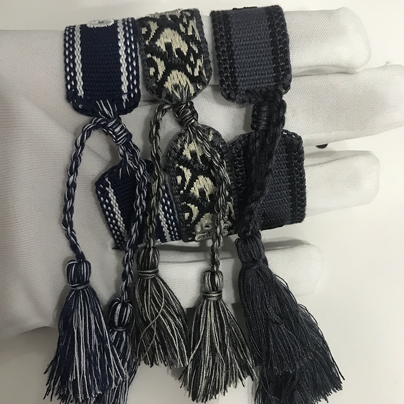 19Hot D Brand Fashion Jewelry For Women Cotton Jewelry Letter Signature Embroidery Bracelet Woven Bangle Tassel Lace-up Bracelet