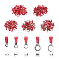 100 unids/pack RV1.25-3 /4/5/6/8 anillo rojo conector de Cable aislado eléctrica crimpado Cable de Terminal conectores de Cable