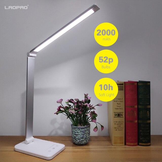 LAOPAO 52 шт. светодиодный настольный светильник 5 цветовых режимов x 10 Dimable уровней сенсорный 2000 мАч USB заряжаемый для чтения защита глаз светодиодный Настольный светильник