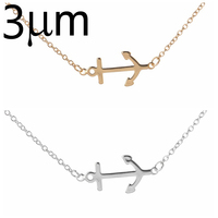 3UMeter Anchor Pendant Charms Men Women Cute Nice Necklace Jewelry Simple Boat Hooks Necklace Silver Gold
