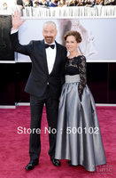 2013 85th Oscar Awards Bryan Cranston S Wife Jewel Black Lace Bodice Silver Skirt Mother Of