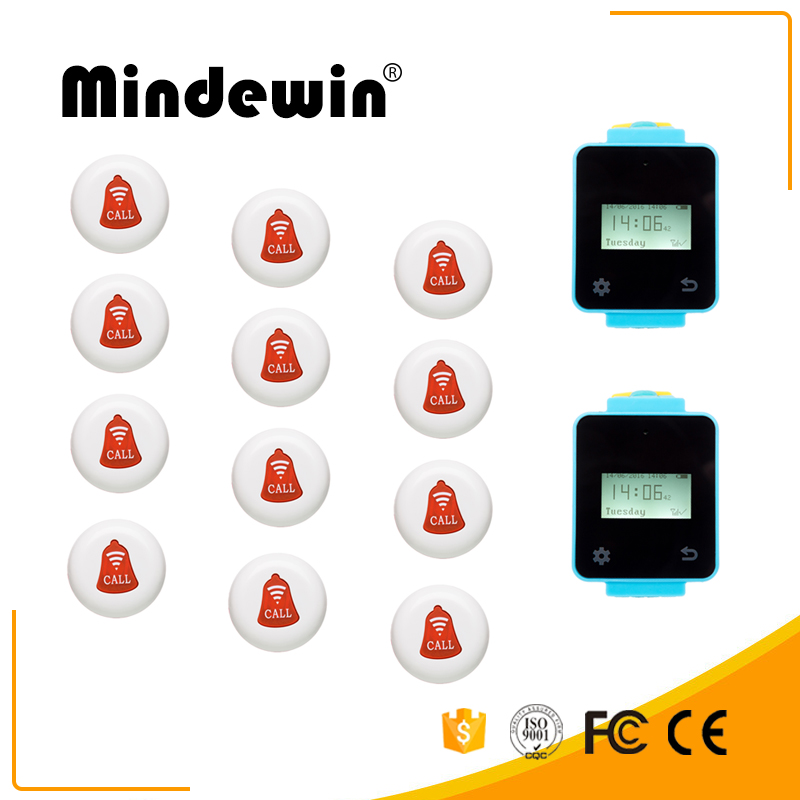 Mindewin Wireless Calling System 2M-W-1 Touch Screen Wireless Wrist Watch Pager 12M-K-1 Colorful Restaurant Call Quecing Buttons restaurant table calling system 1 wrist pager 3 service buzzer for catering equipment