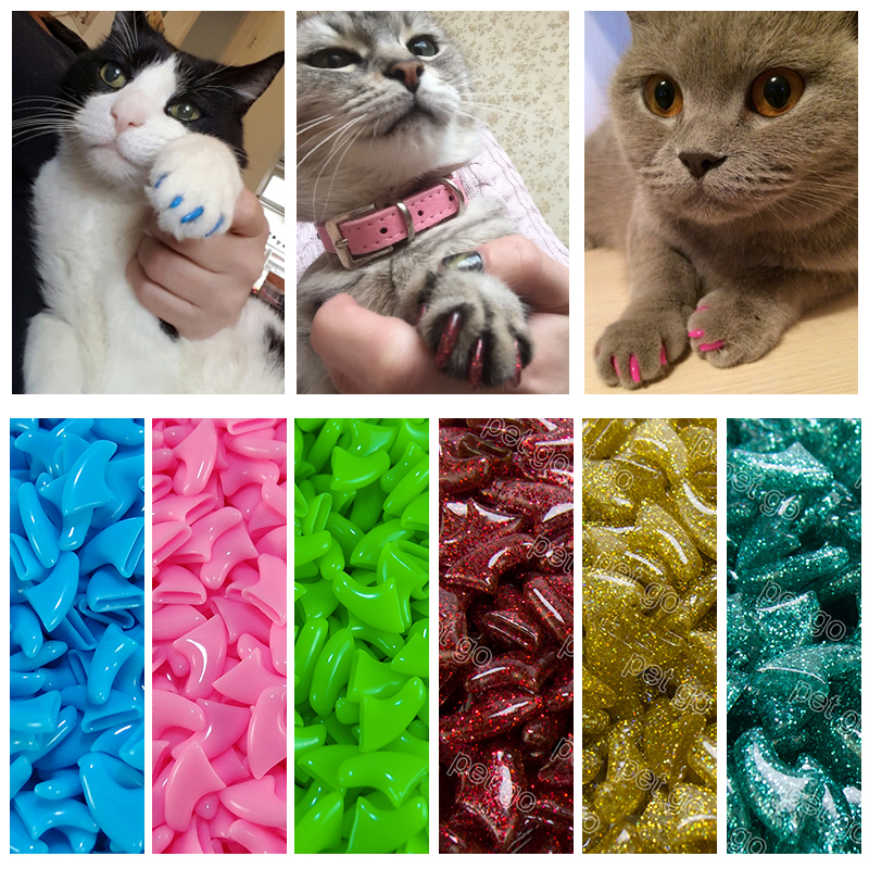 New Fashion Colorful Cat  Nail Caps Soft Cat  Claw  Soft Paws 20 Pcs/lot With Free Adhesive Glue Size Xs S M Lgift For Pet