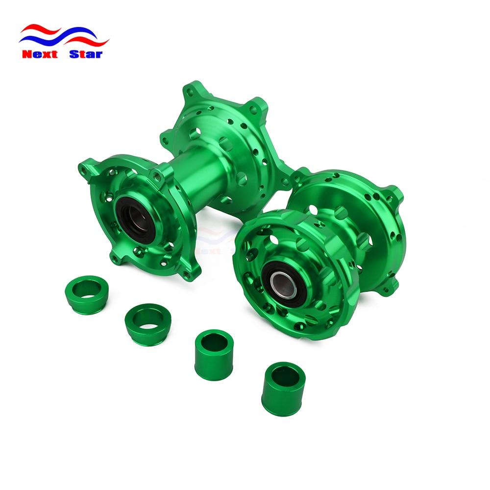 Motorbike CNC Aluminum Green Front Rear Wheels Hub For KAWASAKI KX125 KX250 2006 2007 2008 KX250F KX450F KXF250 KXF450 06 18