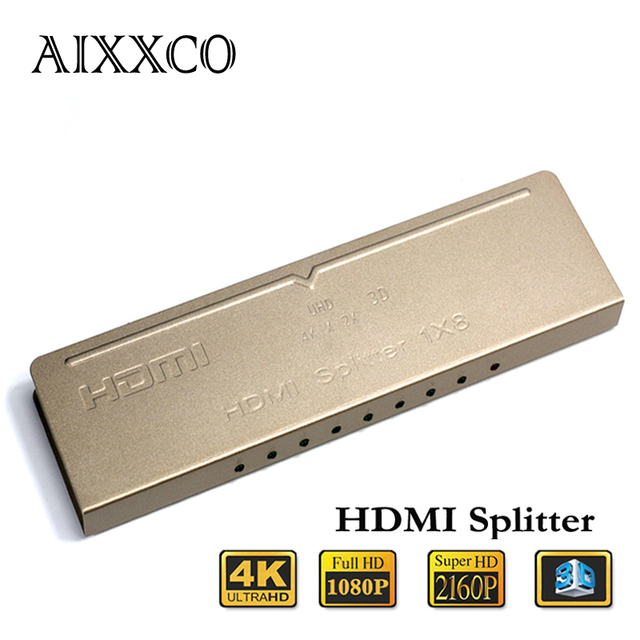 AIXXCO HDMI 2K 4K Splitter 1X8 1080P 2160P Amplifier HDMI Switch1 in 8 Out HDMI Converter adapter For HDTV